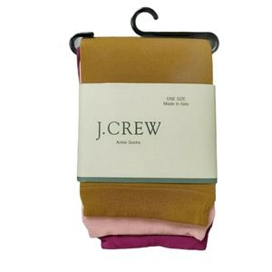 J Crew Ankle Socks One Size 3 Colors Made in Italy